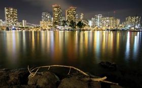 Обои огни, ночь, Гонолулу, Гаваи