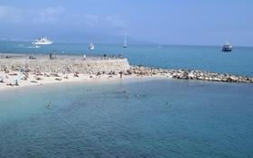 Обои море, пляж, люди, отдых, Франция, корабль, отпуск
