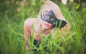 Картинка лето, трава, девушка, маска, блондинка