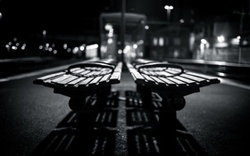Картинка light, bokeh, shadows, benches, grayscale