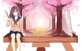 Картинка девушка, деревья, аниме, сакура, арт, форма, школьница