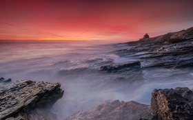 Обои пейзаж, sunrise, Bamburgh Castle