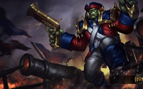 Обои война, орк, Heroes of Newerth, праздник, Redcoat, 4th of July, Flint Beastwood
