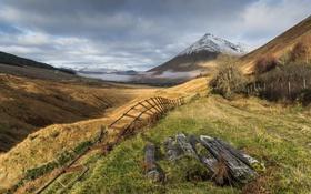 Картинка горы, природа, забор, долина