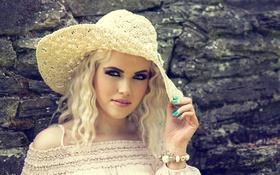 Обои маникюр, макияж, Ciara, белокурые локоны, шляпка