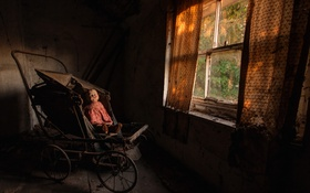 Обои комната, кукла, окно, коляска