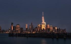 Обои One World Trade Center, Соединенные Штаты, ночь, Манхэттен, OWTC, Нью-Йорк, 1WTC