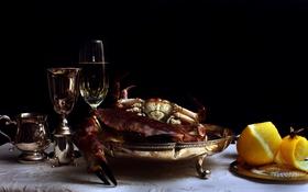Картинка Still Life, Crabs, Silverwear