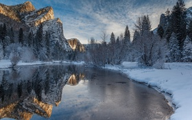 Картинка merced river, Yosemite National Park, winter