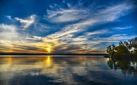 Картинка небо, облака, закат, озеро, отражение