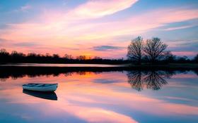 Обои закат, отражение, лодка
