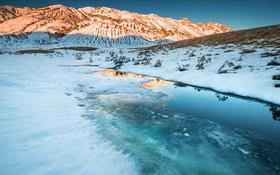 Обои озеро, горы, снег, небо