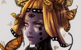 Обои портрет, renaillusion, бабочки, арт, девушка