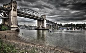 Обои небо, облака, мост, дом, река, яхты, лодки