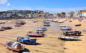 Картинка город, берег, Англия, дома, лодки, отлив