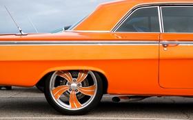 Обои стиль, вид сбоку, Chevrolet, оранжевый, колесо