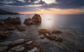Обои Греция, побережье, берег, небо, камни