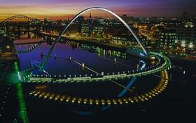 Обои Гейтсхед, мост Тысячелетия, Англия, дома, арка, огни, ночь