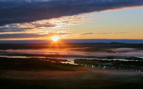 Картинка небо, река, утро