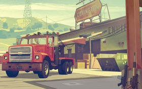 Обои Грузовик, Склад, Оружие, Тягач, Надписи, Grand Theft Auto V, Rockstar North