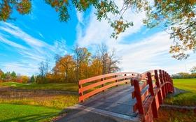 Обои осень, небо, трава, облака, деревья, парк, мостик