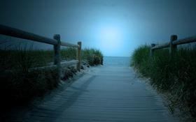 Обои море, дорога, забор