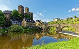 Обои мост, река, замок, дома, Германия, Runkel