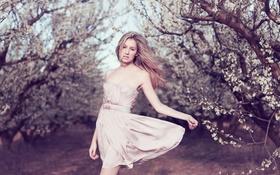 Обои платье, сад, деревья, девушка