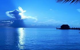 Картинка океан, вечер, причал