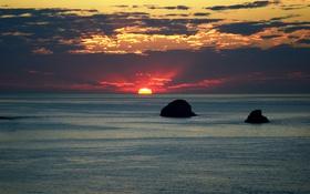 Обои море, небо, облака, закат, камни, горизонт, островок