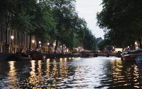 Картинка вода, мост, улица, фонари, канал, мостик