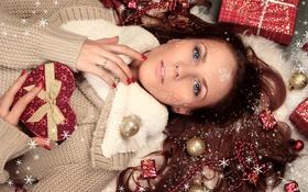 Картинка девушка, украшения, праздник, подарок, Новый Год, Рождество, Christmas