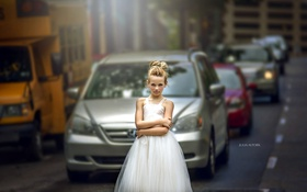 Обои машины, улица, девочка