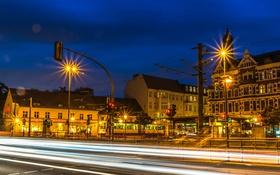 Обои HDR, дорога, дома, движение, Германия, выдержка, огни