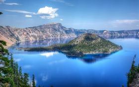 Обои небо, облака, деревья, озеро, скалы, остров, панорама