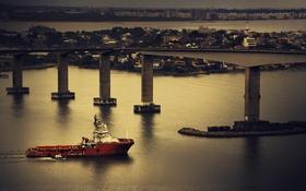 Обои лодка, дома, залив, Бразилия, третий мост, Витория, Эспириту-Санту