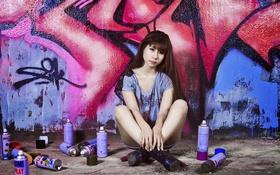 Картинка девушка, краски, графити