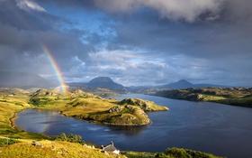 Обои радуга, тучи, горы, Шотландия, природа, озеро Инчард, северо-западное нагорье