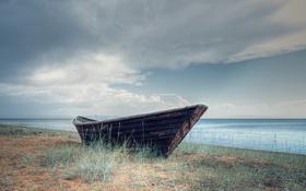 Картинка море, небо, лодка