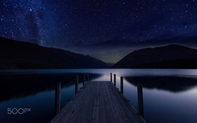 Картинка небо, вода, звезды, ночь, пирс