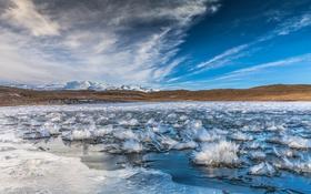 Обои лед, пейзаж, горы, небо