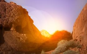 Обои горы, сияние, скалы, рассвет, блик