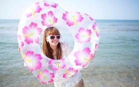 Картинка море, лето, лицо, улыбка, очки, азиатка