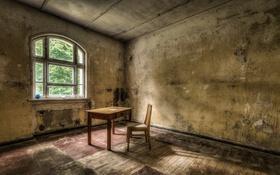 Обои стол, окно, стул