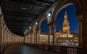 Обои ночь, огни, Испания, Севилья, площадь Испании