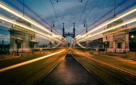 Обои bridge, tilt-shift, Motion, Budapest