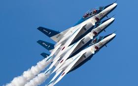 Обои праздник, группа, пилотажная, Blue Impulse, Kawasaki T-4