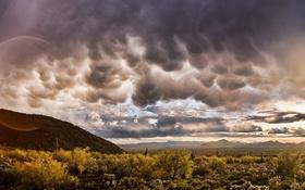 Обои облака, пейзаж, горы, природа, фото