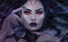 Обои девушка, лицо, паутина, паук, руки, арт, красные глаза