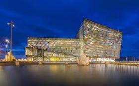 Обои ночь, огни, здание, Исландия, Reykjavik, Рейкьявик
